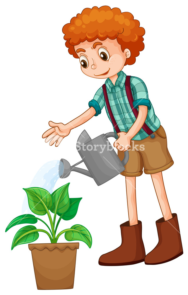 637x1000 Boy Watering The Plant Illustration Royalty Free Stock Image