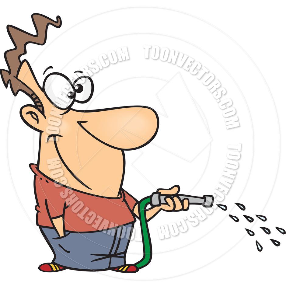 940x940 Cartoon Man Watering Lawn By Ron Leishman Toon Vectors Eps