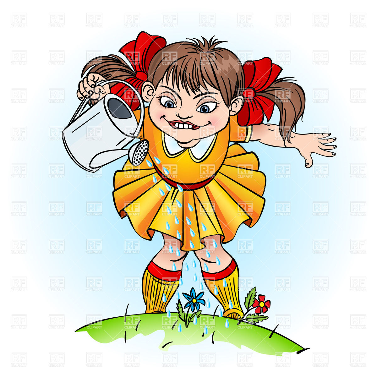 1200x1200 Cartoon Little Girl With Watering Can Royalty Free Vector Clip Art