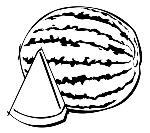 600x533 Free Watermelon Clipart Black And White Image