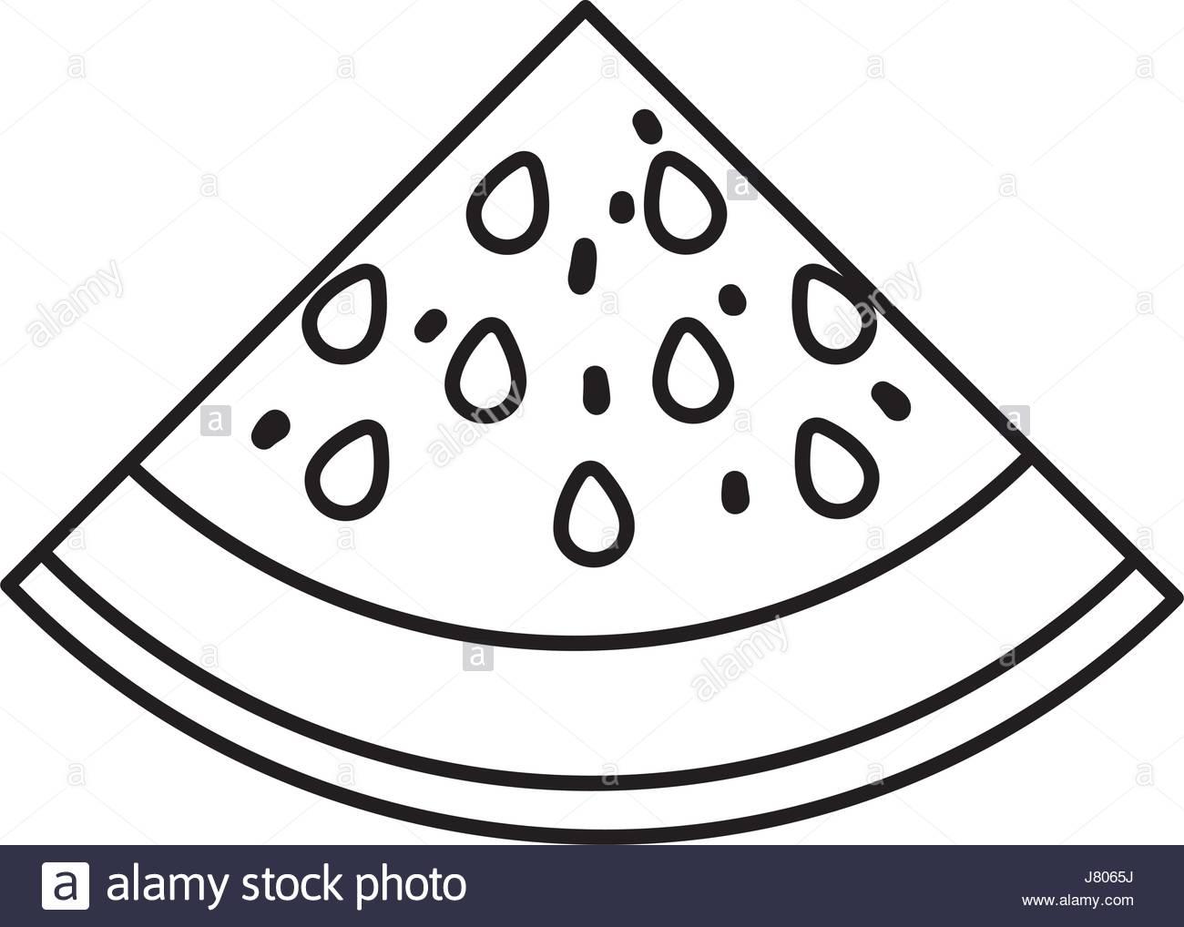 1300x1018 Black Silhouette With Watermelon Fruit Slice Stock Vector Art
