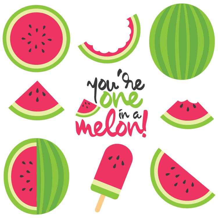 750x750 Watermelon Cut Files + Clip Art