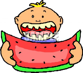 350x308 Boy Eating Watermelon