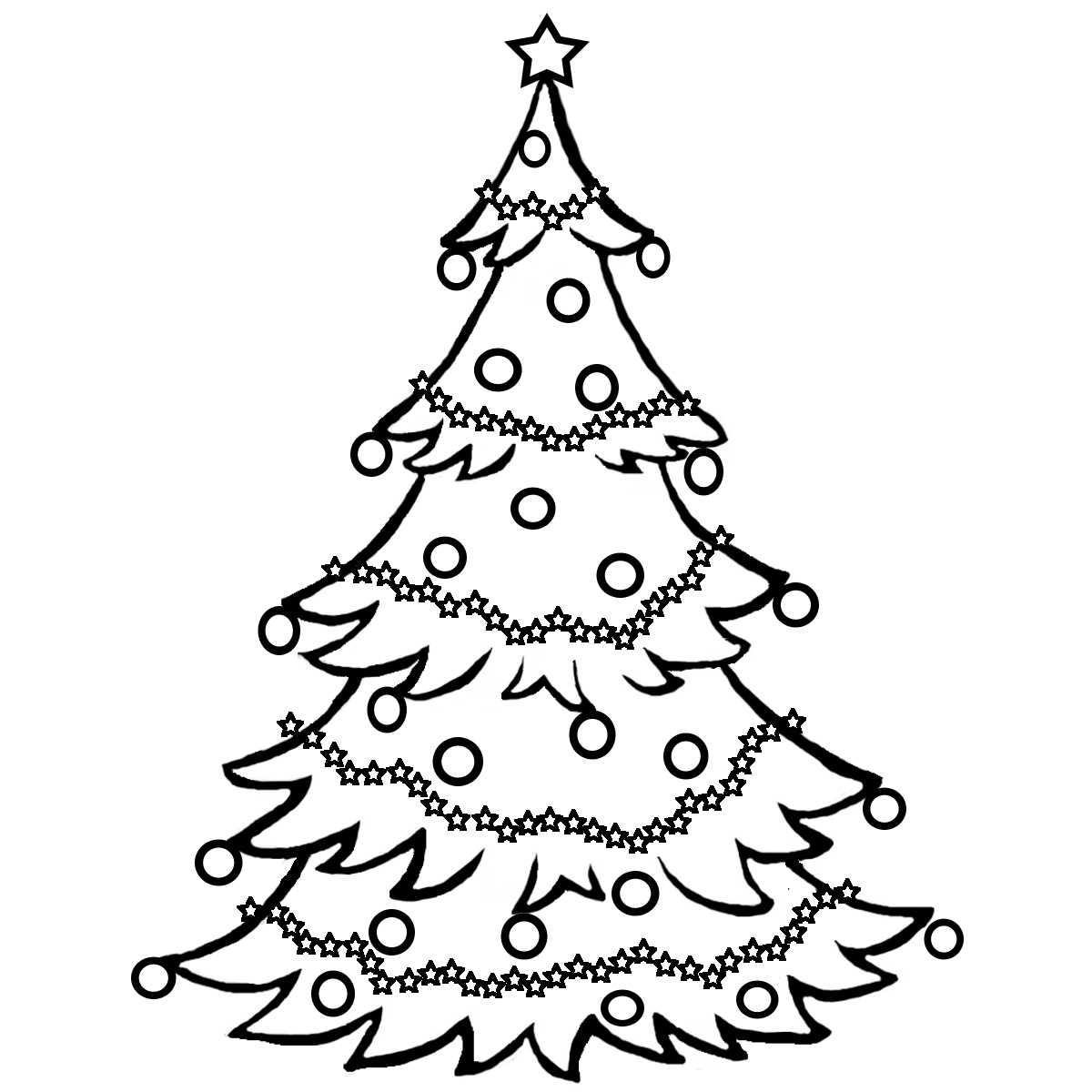1200x1200 Christmas Tree Black And White Clipart