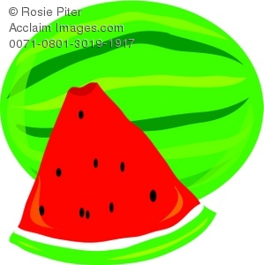 299x300 Illustration of a Watermelon and a Slice