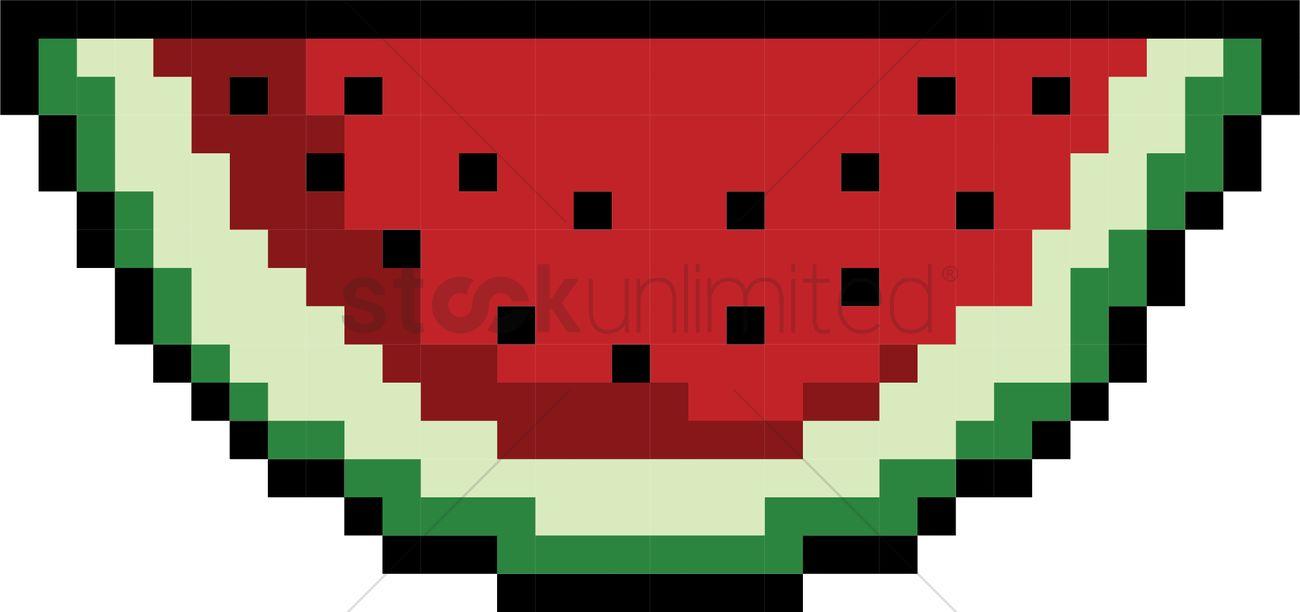 1300x612 Pixel art watermelon Vector Image