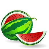 170x170 Clip Art of Watermelon with fruit slice k6366312