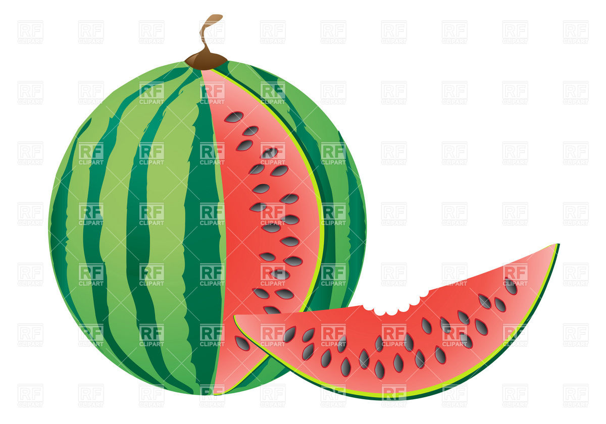 1200x840 Watermelon slice with bite missing Royalty Free Vector Clip Art
