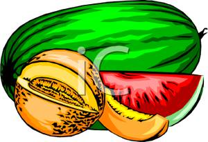 300x206 Watermelon And Cantaloupe Clip Art Image