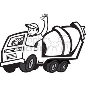300x300 Royalty Free Black And White Cement Mixer Driver Wave 388147