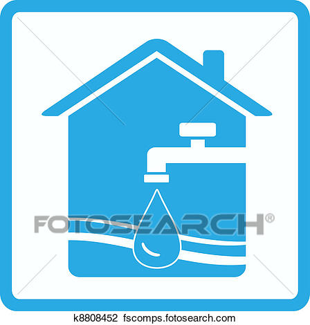 448x470 Clip Art Of Water Sign With Tap, House And Wave K8808452