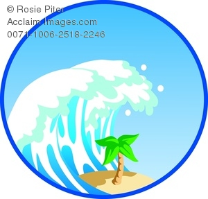 300x287 Clipart Image Of A Tall Tsunami Wave Crashing Down On A Palm Tree