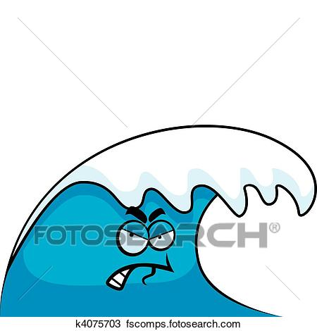450x470 Clipart Of Angry Wave K4075703