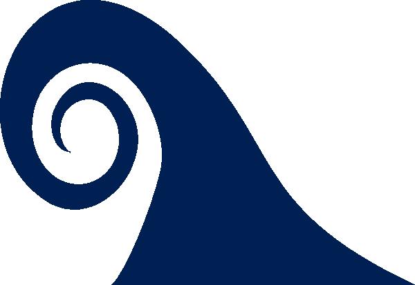 600x413 Navy Single Curl Wave Clip Art