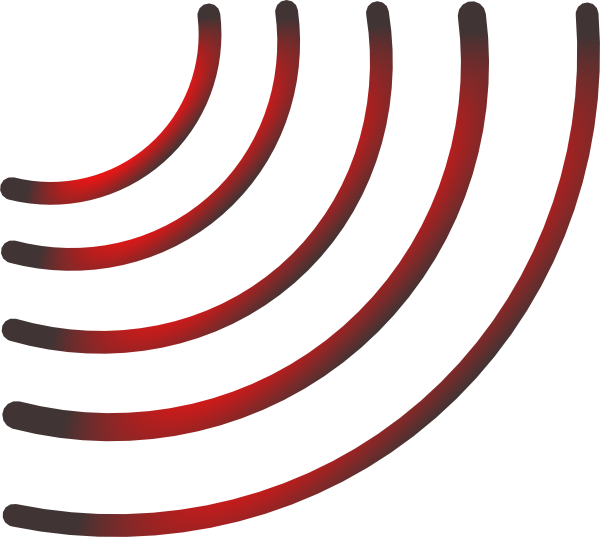 600x537 Radio Waves (Black And Red) Clip Art
