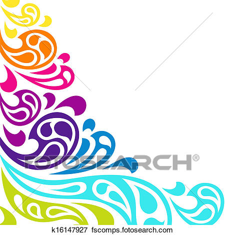 450x470 Clip Art Of Color Splash Waves Abstract Background. K16147927
