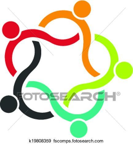 433x470 Clip Art Of Teamwork Wave 5 Logo Of People K19808359