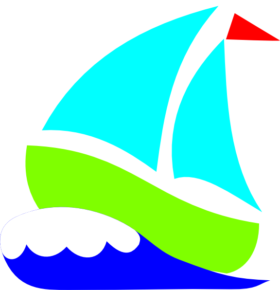 576x596 Green Sailboat With Wave Clipart
