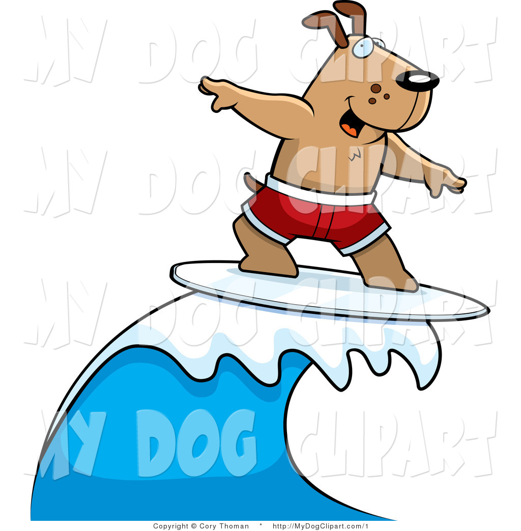 1024x1044 Vector Clip Art Of A Surfer Dog On Top Of A Wave By Cory Thoman