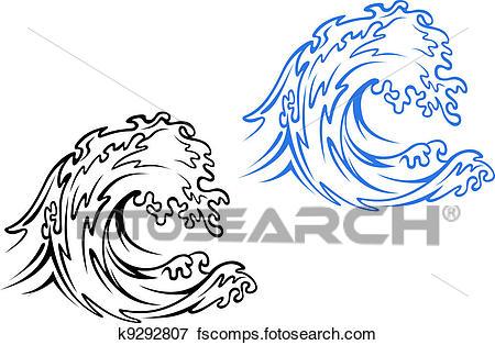 450x314 Clip Art Of Sea Wave K9292807