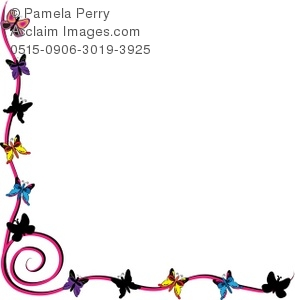295x300 Butterflies Page Border Royalty Free Clip Art Picture
