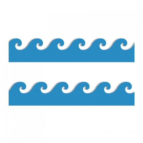 500x500 Blue Waves Borders, Hygloss, 33602
