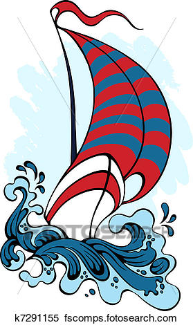 279x470 Clipart Of Sailboat, Floating On The Waves K7291155