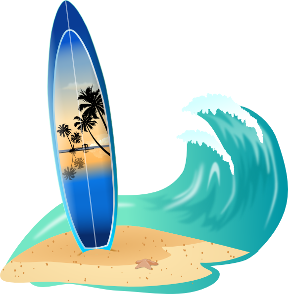 582x596 Surfboard And Wave Clip Art