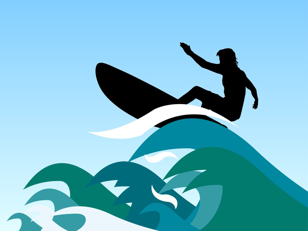 1024x767 Surfboard And Wave Clipart