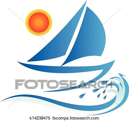 450x420 Clipart Of Boat Waves And Sun Logo K14238475