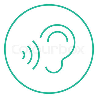 320x320 Ear And Sound Waves Thick Line Icon With Pointed Corners And Edges