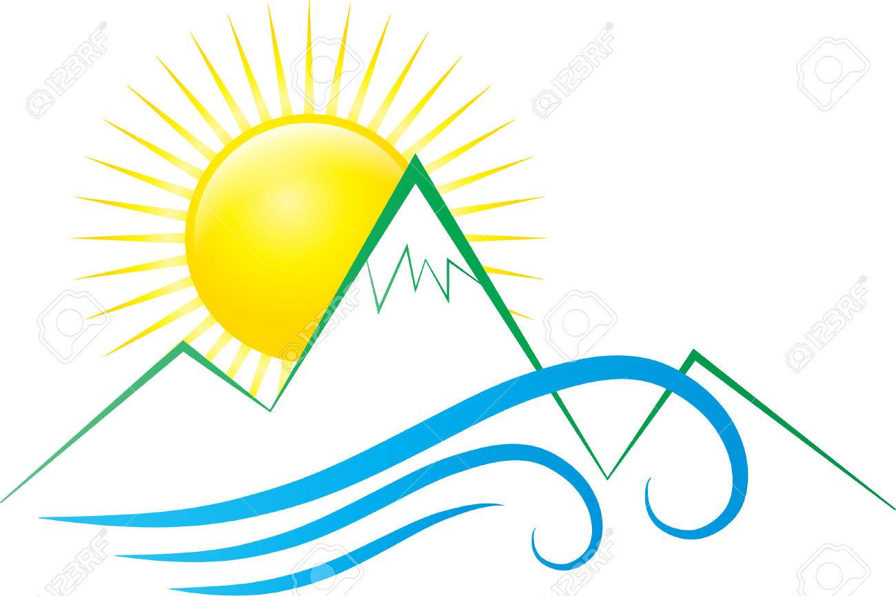 1300x864 Sun Mountains And Waves Royalty Free Cliparts, Vectors, And Stock