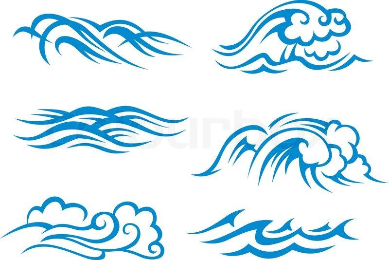 800x534 Surf Waves Stock Vector Colourbox