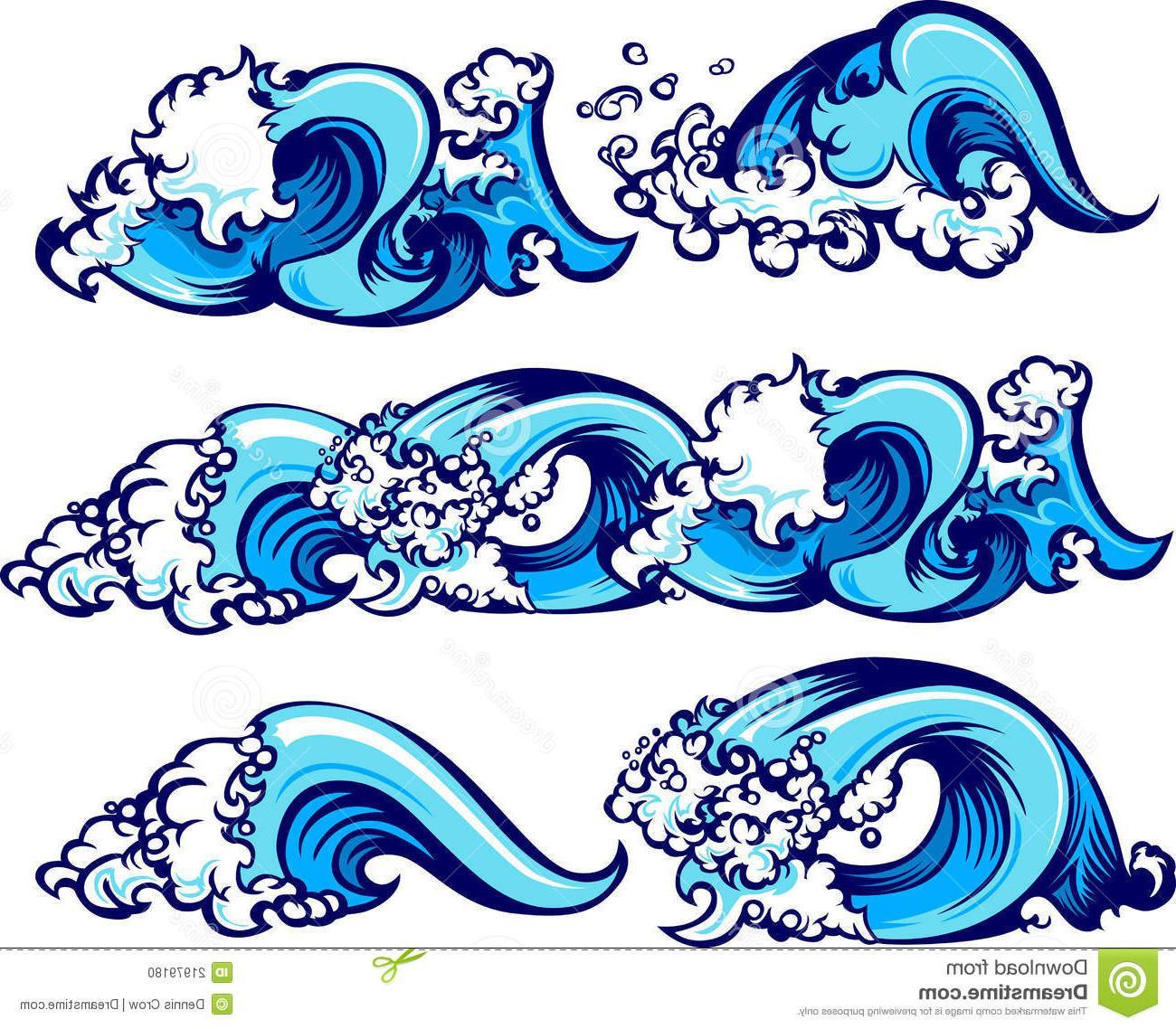 1300x1138 Top Crashing Water Waves Vector Illustrations Design