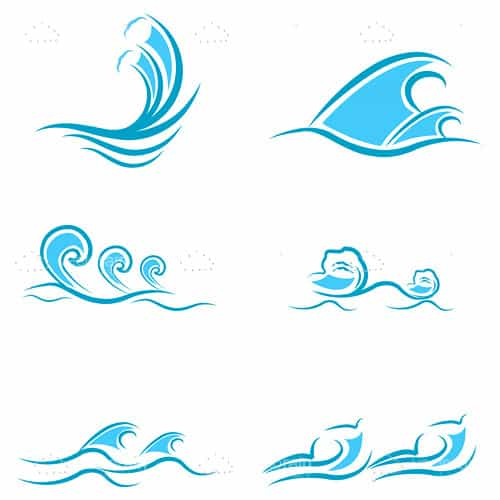 500x500 Abstract Sea Waves Icon Set