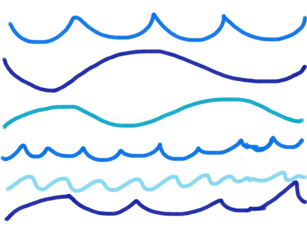 1024x768 Wave Clipart Line Drawing