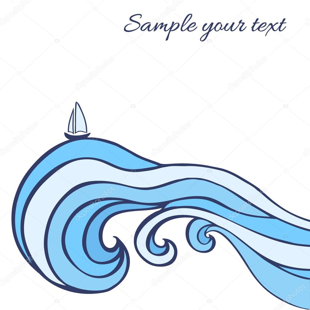 1024x1024 Abstract Blue Sea Waves With Sailboat Isolated On White Background