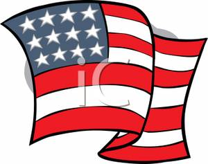 300x237 Waving American Flag Clipart Picture