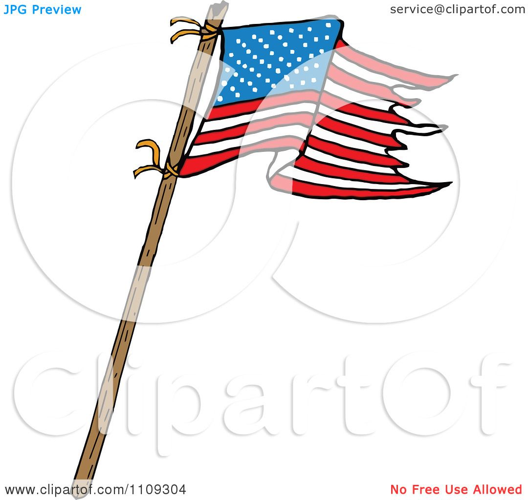 1080x1024 Clipart Waving American Flag With Tattered Edges On A Stick