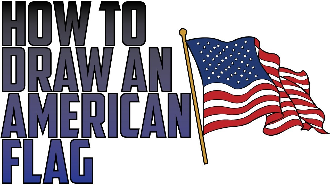 1280x720 How To Draw An American Flag Waving In The Wind (Drawing Expert