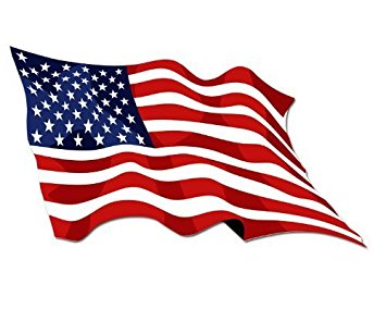 355x284 Waving American Flag Sticker Automotive