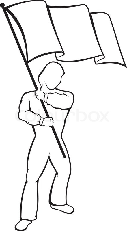 440x800 Lineart Of Young Man Waving A Flag Stock Vector Colourbox