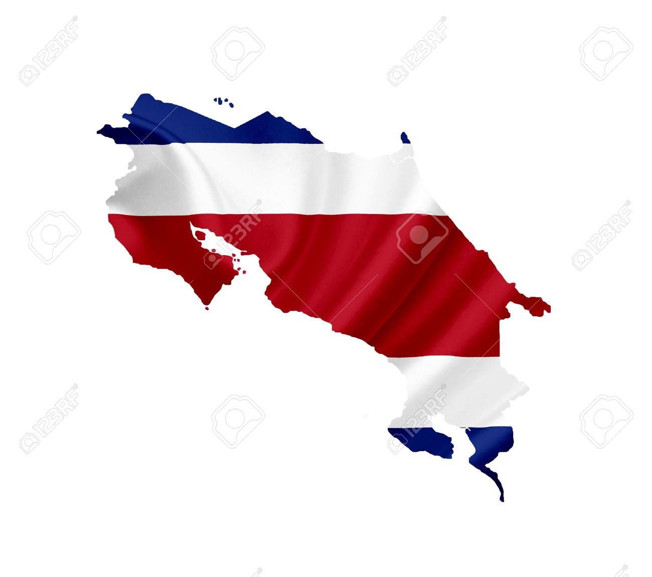 1300x1151 Map Of Costa Rica With Waving Flag Isolated On White Stock Photo