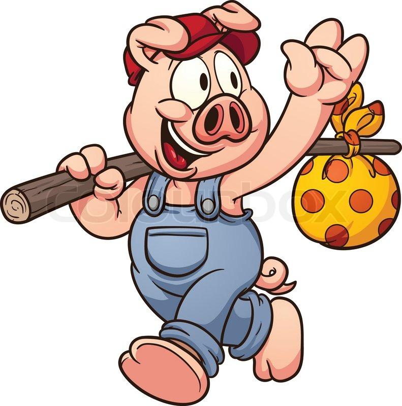 791x800 Cartoon Pig Waving Goodbye. Vector Clip Art Illustration