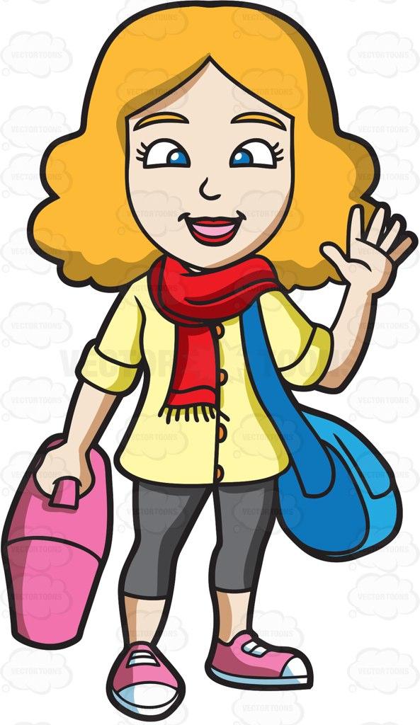 593x1024 A Woman Waving Goodbye Before She Leaves Cartoon Clipart