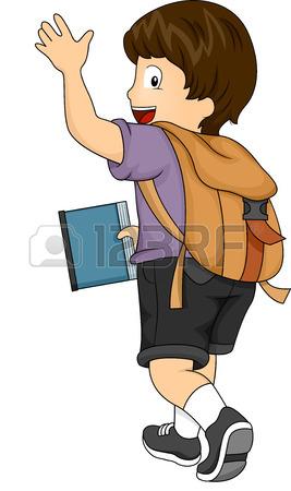 267x450 Illustration Of Little Kid Student Girl Waving Goodbye Stock Photo