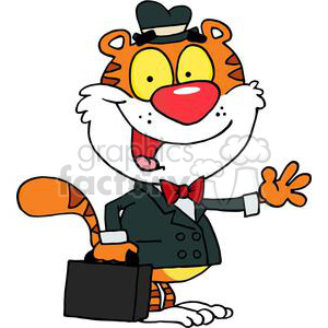 300x300 Royalty Free A Business Tiger Waving Goodbye 378496 Vector Clip