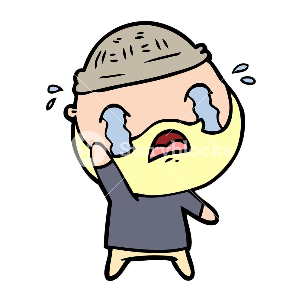 1000x1000 Cartoon Bearded Man Crying Waving Goodbye Royalty Free Stock Image