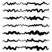 170x170 Clip Art Of Abstract Irregular Line Set. Different Wavy, Zigzag
