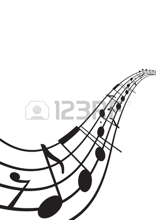 318x450 Music Notes On Wavy Staff. A4 Size Page. Graphic Design Element